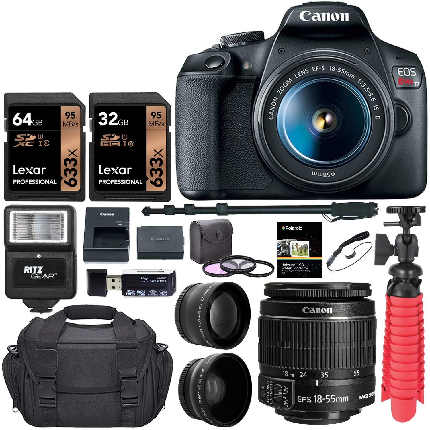 Canon EOS Rebel T7 24MP Camera + EF-S 18-55mm is II Lens (Successor for EOS Rebel T6) + 96GB + 57'' Tripod+ Camera Bag+ Cleaning Kit+ + 58mm 2X Professional Telephoto & 58mm Wide Angle Lens &More by Canon (Image #1)