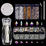 120 Pcs Glass Crystal AB Rhinestones For Nail Art Craft(120+1656pcs),Micro Nail Pixie Beads 1 Bottle,Mixed Colors Metal Bead 1 Pack Nails 3D Decorations Nail Art Kit