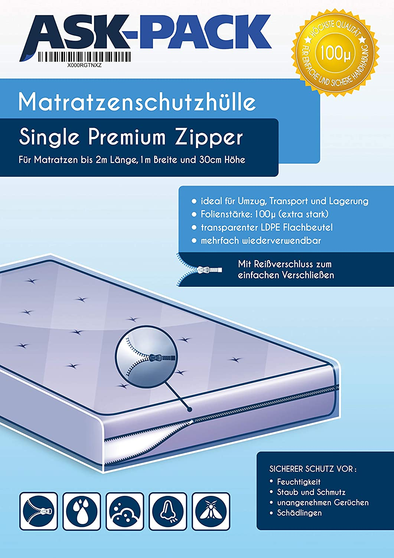 ASK Pack Bolsa de Colchón Premium Single Zipper - con Cierre ...