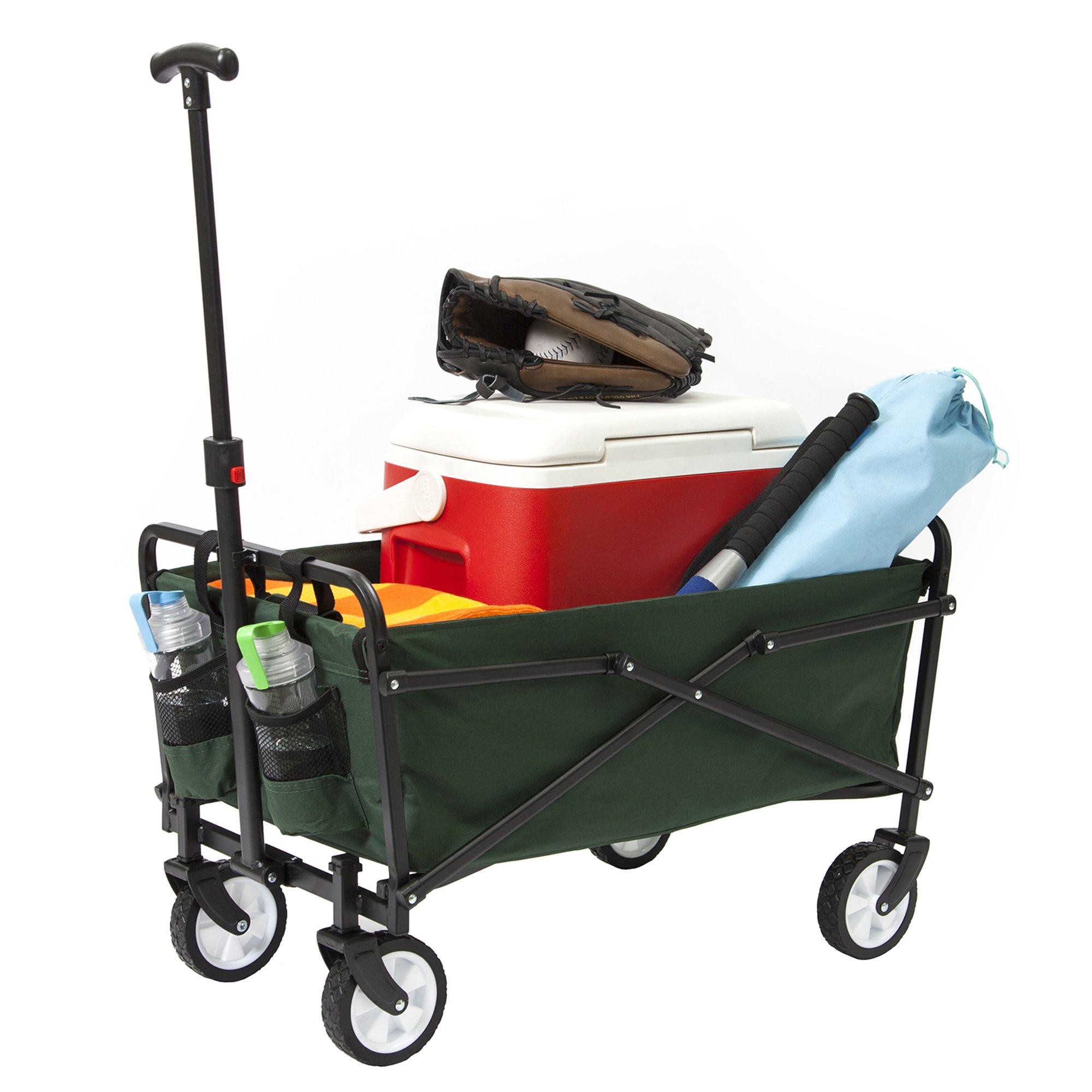 YSC Wagon Garden Folding Utility Shopping Cart,Beach (Green)