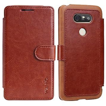 Funda Para LG G5 - WAWO Funda De Piel Tipo Cartera Para LG G5 Wallet Case - Marrón (Card Slot Vintage Series)(Funda Con Tapa LG G5 Carcasa)