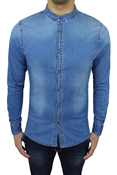 6092b6eb846b9c Mat Sartoriale Camicia di Jeans Uomo Denim Chiara Slim Fit con Colletto alla  Coreana (s