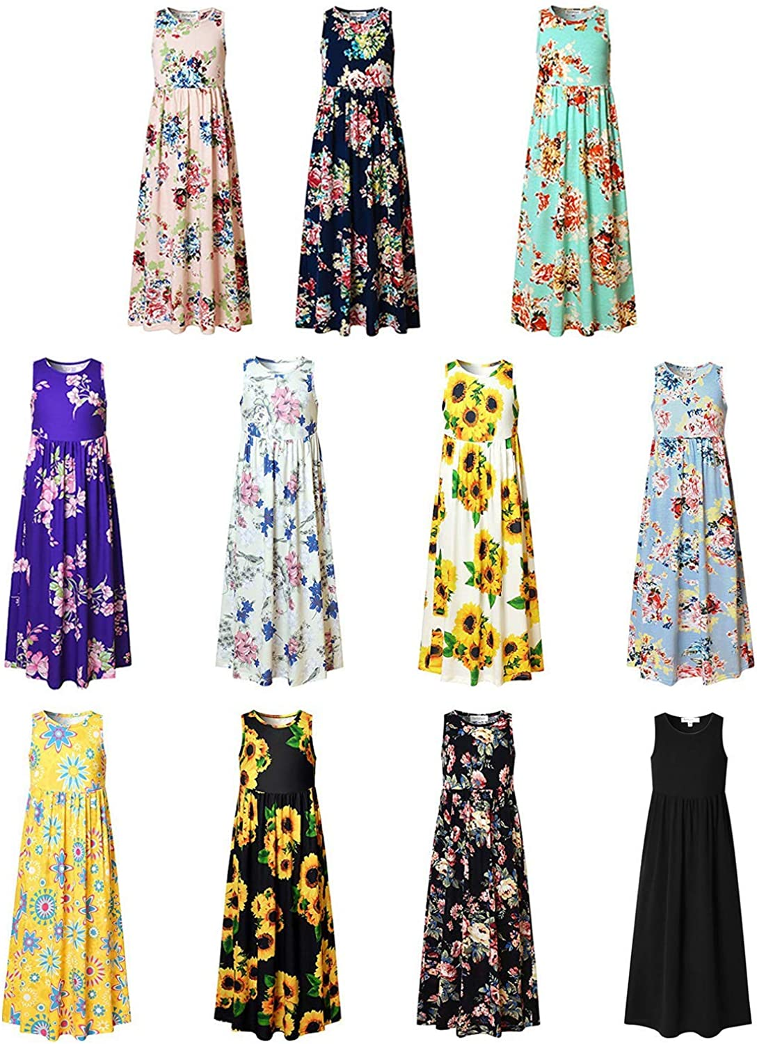 Maxi Dresses for Girls Unicorn Floral Summer Sleeveless Casual Pockets Long
