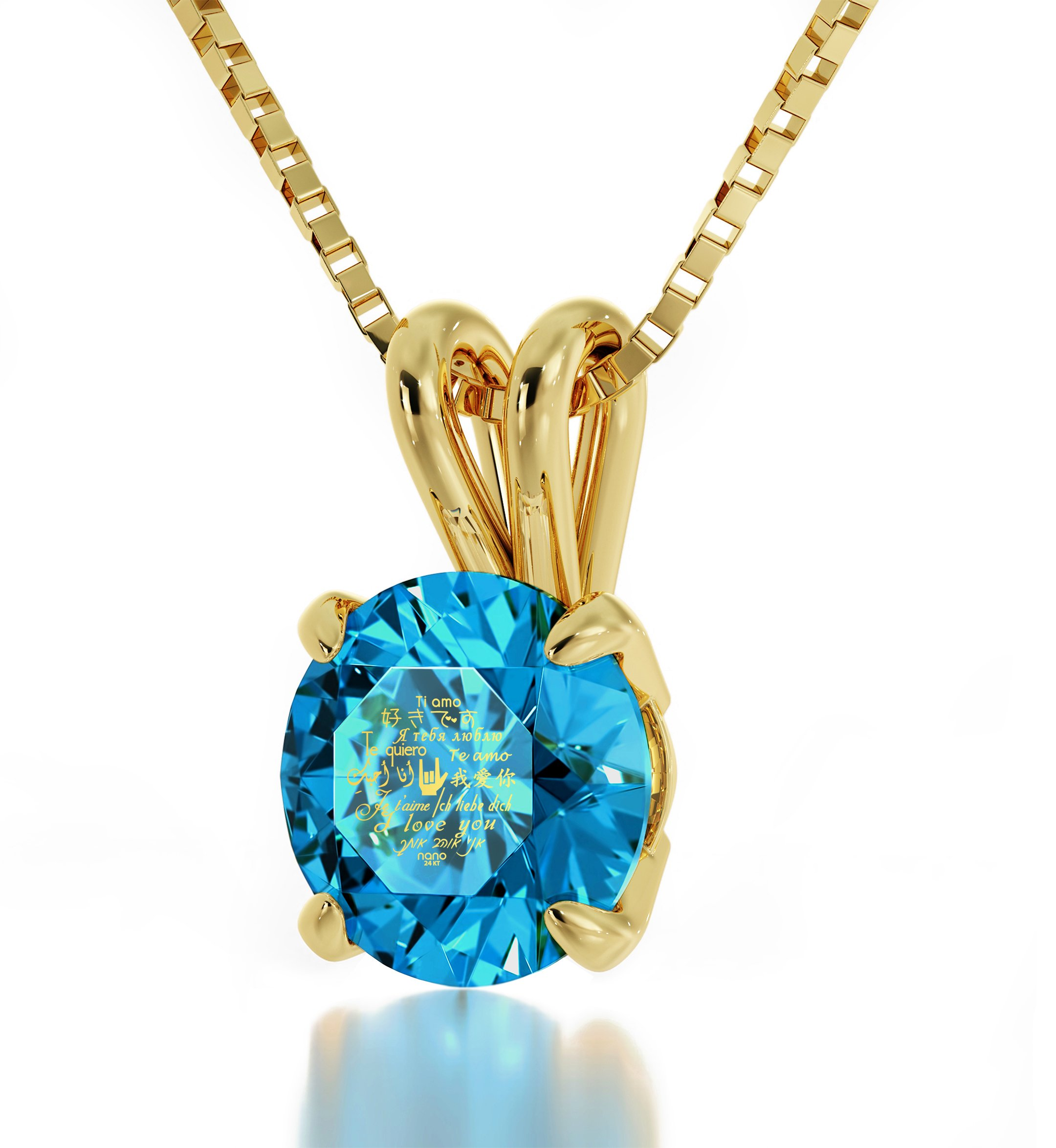14k Yellow Gold I Love You Necklace Solitaire Pendant Inscribed in 24k Gold Blue Crystal, 18'' Gold Filled
