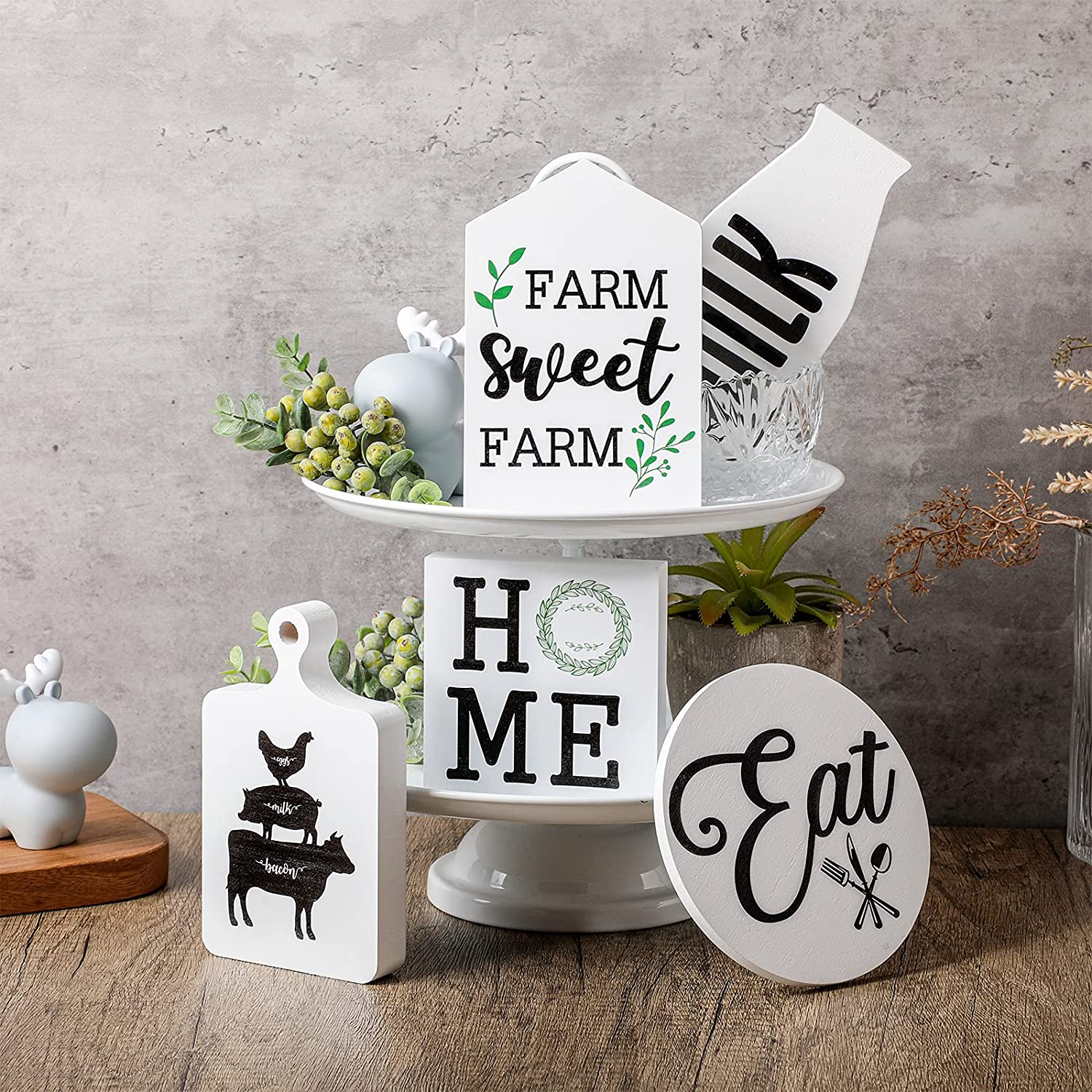 5 Pieces Farmhouse Tiered Tray Decorations Set Home Wood Signs Table Kitchen Tiered Tray Decor Rustic Wood Decoration Farm Sweet Farm Wood Sign for Home Kitchen Shelf Photo Prop