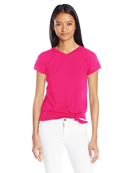 9447b902a9276 French Toast Junior s Short Sleeve V-Neck Side Knot Tee at Amazon ...