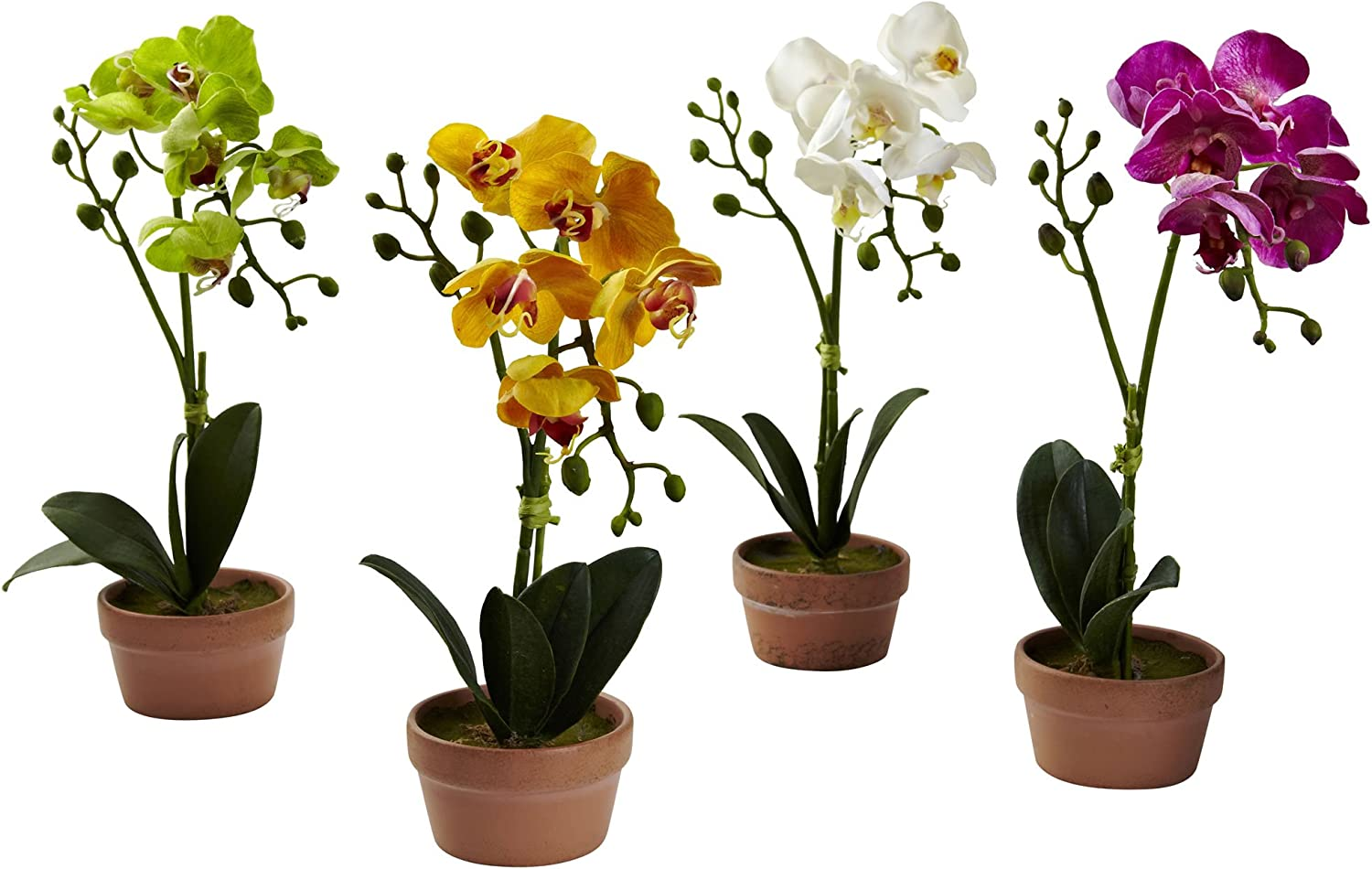 Nearly Natural 4991-S4 Phalaenopsis Orchid with Clay Vase, Set of 4