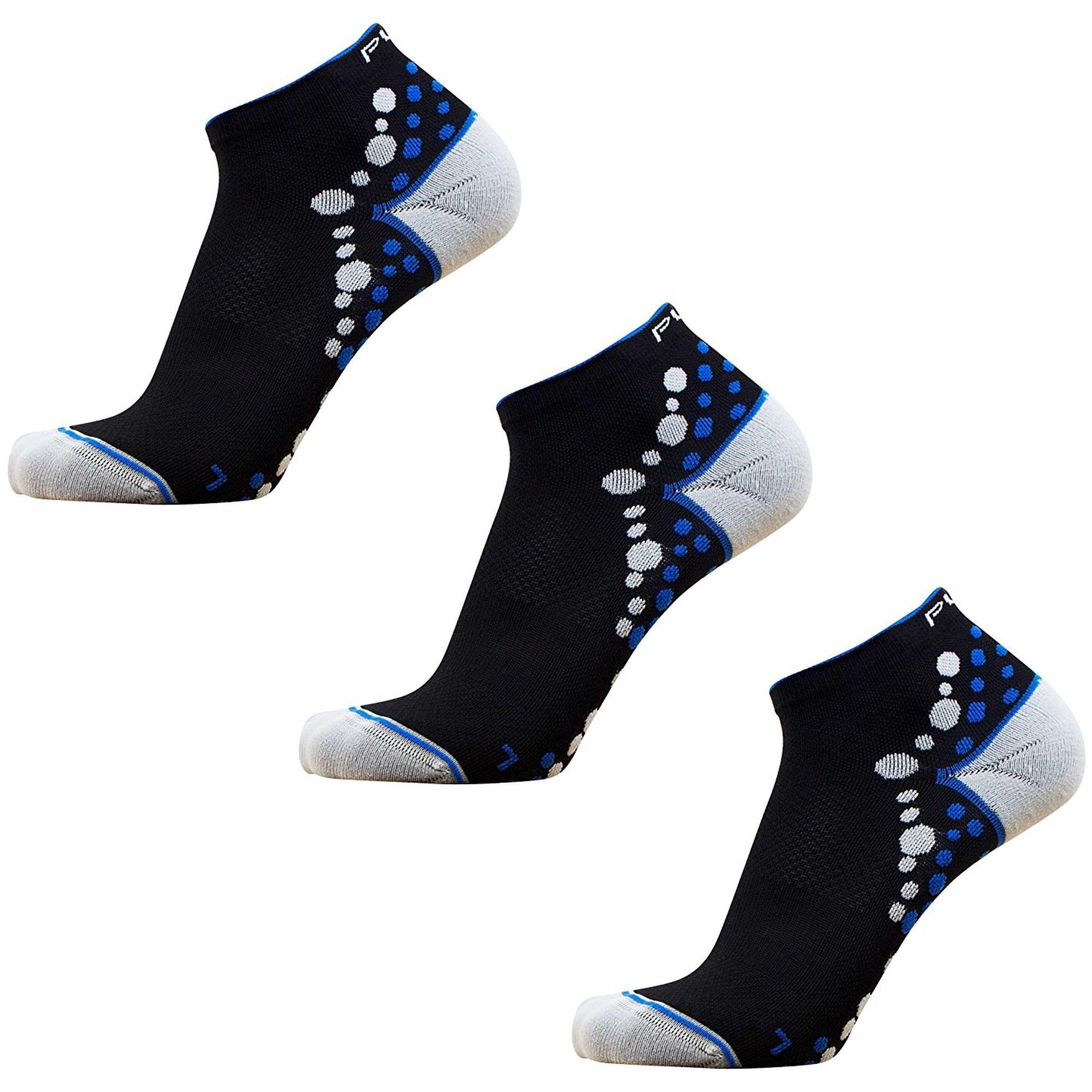 Pure Athlete Ultra-Comfortable Running Socks - Anti-Blister Dot Technology, Moisture Wicking (Black/Blue - 3 Pack, S/M)