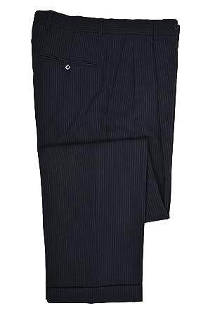 9580ff7fdb Brooks Brothers Mens Pleated Stretch 346 Cuffed Hem Dress Pants Navy Blue  Pinstriped (31W x