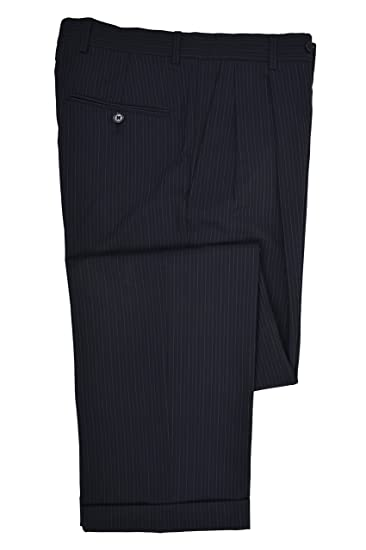 Brooks Brothers Mens Pleated Stretch 346 Cuffed Hem Dress Pants Navy