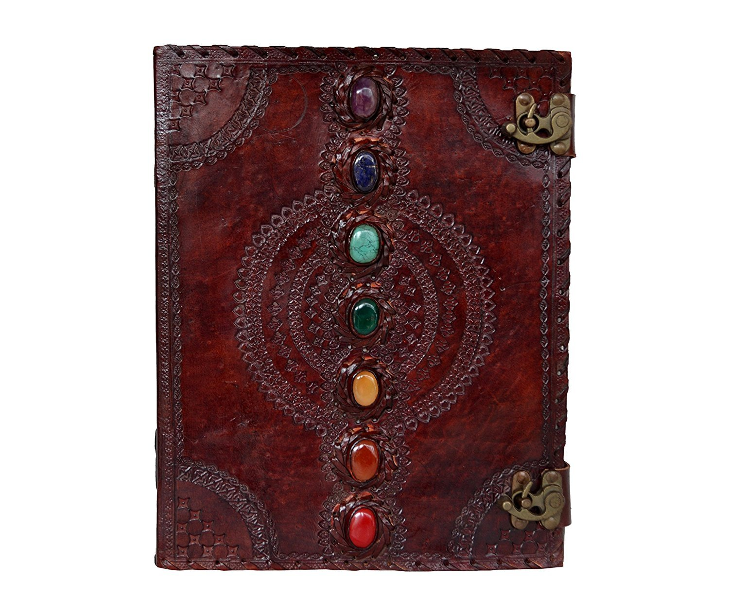 Prastara Leather Journal Book Seven Chakra Medieval Stone Embossed Handmade Book of Shadows Notebook Office Diary College Book Poetry Book Sketch Book 10 x 13 inches