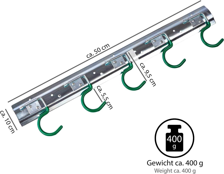 Werkzeughalter Wandhalterung Ger/äteleiste S Haken 2 ONVAYA Ger/äteleiste 50 cm Stahl Ger/ätehalter Aufbewahrung Ordnungsleiste