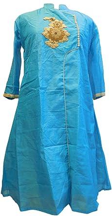 Smsaree Blue Designer Cotton Chanderi Hand Embroidery Thread Stone