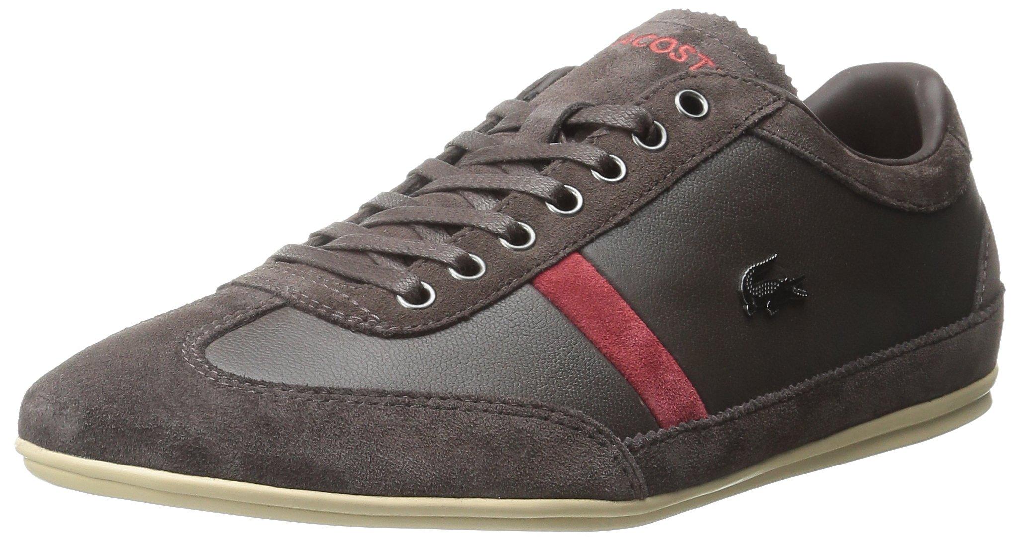 Lacoste Men's Misano 22 LCR Fashion Sneaker, Dark Brown, 8 M US