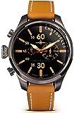Chotovelli Aviator Pilot Men's Watch Chronograph display Camel leather Strap 52.12