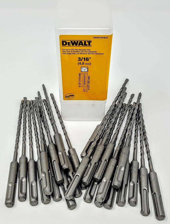 "DeWalt DW5403B25 3//16/"" x 6-1//2/"" Rock Carbide Plus SDS Pack of 25 Bits Hammer"