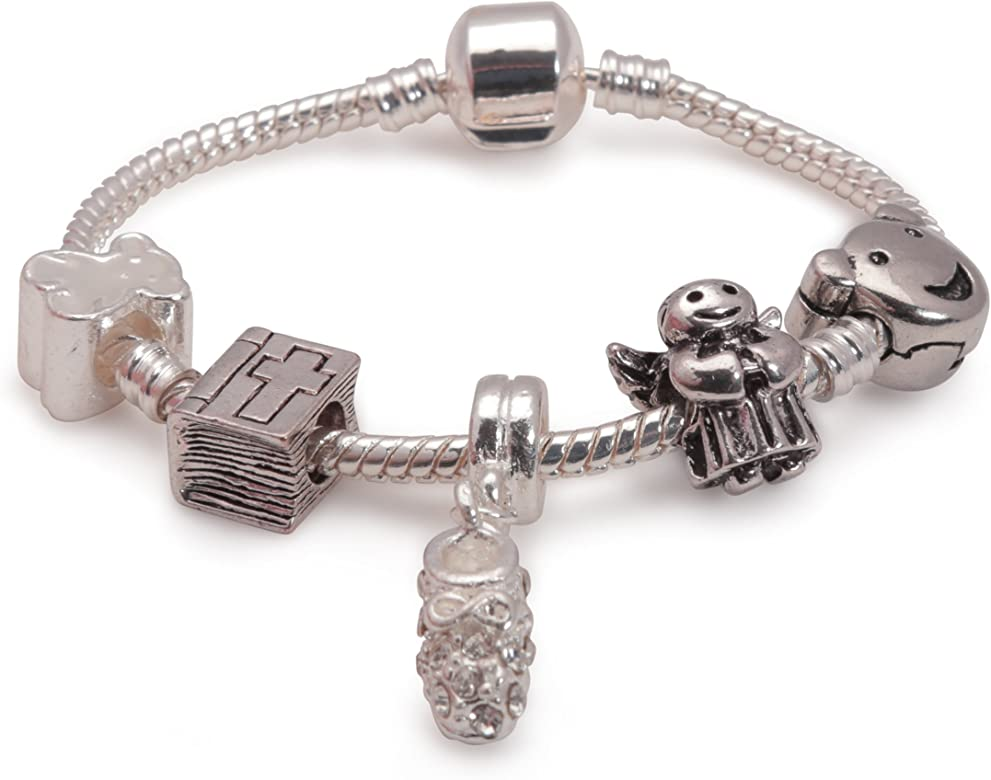 Other sizes available Liberty Charms Childrens Girls Baby Christening Keepsake Silver Plated Charm Bead Bracelet With Gift Box /& Velvet Pouch
