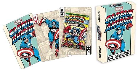 Marvel- Deck de cartas, diseño de Capitán América: Amazon.es ...