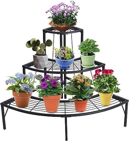 2 Holder Metal Plant Pot Stand Flower Display Shelf Garden Patio Home Decor