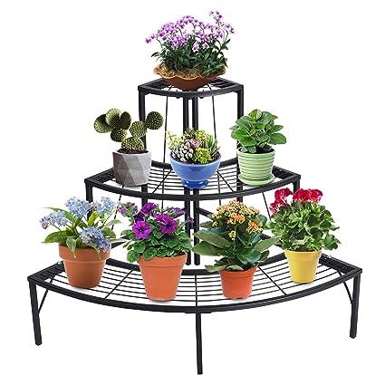 ccbc7e3e62e1 Amazon.com : DOEWORKS 3 Tier Plant Stand Flower Pot Rack, Quarter Round  Plant Corner Shelf Planters Display Holder Indoor/Outdoor, Black : Garden &  Outdoor