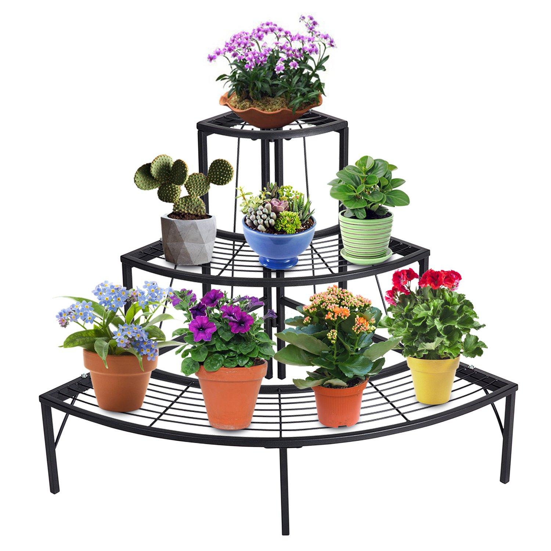 DOEWORKS 3 Tier Plant Stand Flower Pot Rack, Quarter Round Plant Corner Shelf Planters Display Holder Indoor/Outdoor, Black