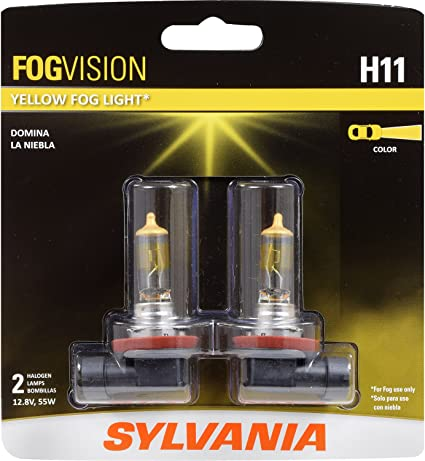 Sylvania Automotive Bulb Guide >> Sylvania H11 Fog Vision High Performance Yellow Halogen Fog Lights Sleek Style Improved Safety Street Legal For Fog Use Only Contains 2