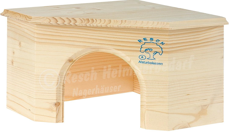 Resch Numéro14 Maison d'angle pour cochon d'Inde / Bois massif d'épicéa, non traité / Très économe / Dotée d'une entrée extra large Resch Heimtierbedarf