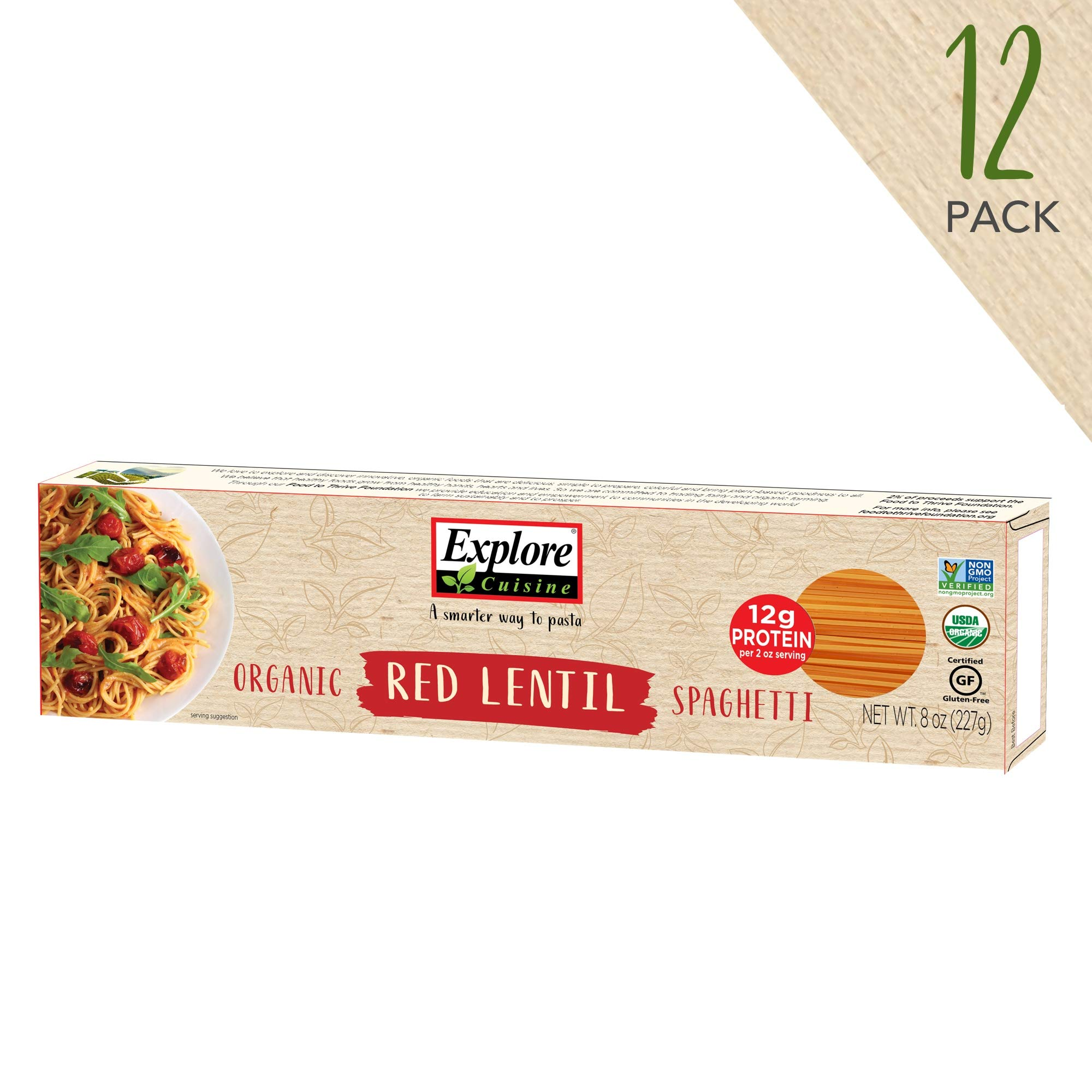 Explore Cuisine Organic Red Lentil Spaghetti (12 Pack) - 8 oz -High Protein, Gluten Free Pasta, Easy to Make - USDA Certified Organic, Vegan, Kosher, Non GMO - 48 Total Servings by EXPLORE CUISINE