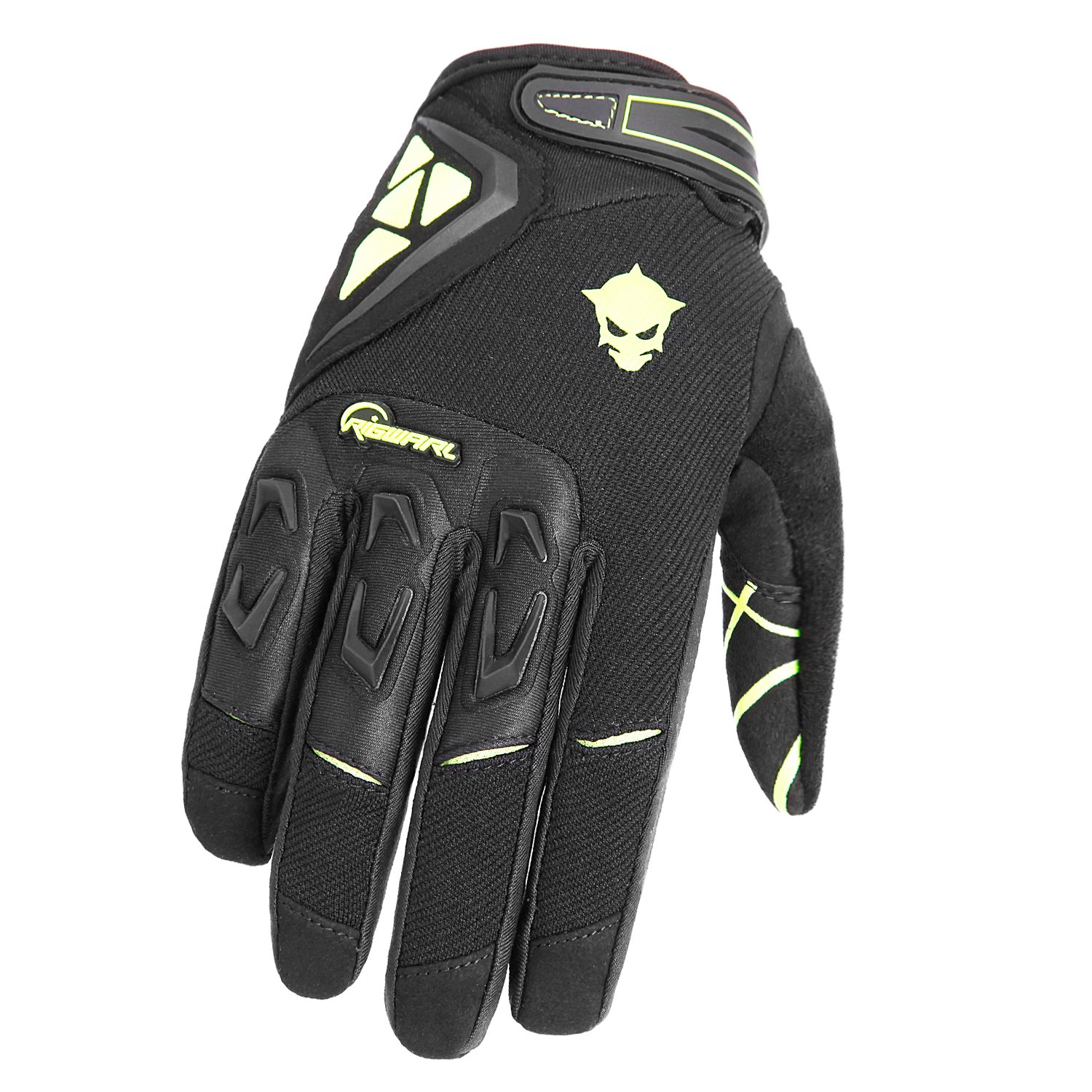 RIGWARL Full Finger Motocross Cycling Gloves with Protect Shell for Bike Racing Motorcycle (Black, Large)