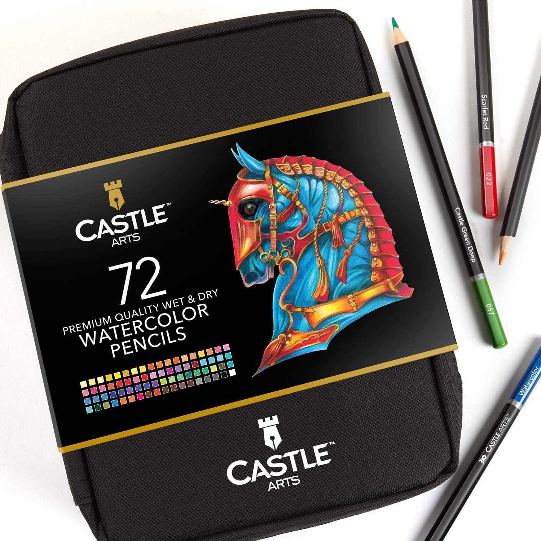 72 lapices de colores acuareleables Castle Arts cone stuche