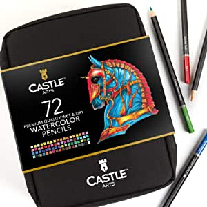 Castle Arts 72 Watercolor Pencils Set in Zip-Up Case for Great Results. Premium Quality Colored Cores with Vivid Colors to Create Beautiful Blended Effects with Water. Includes handy travel case