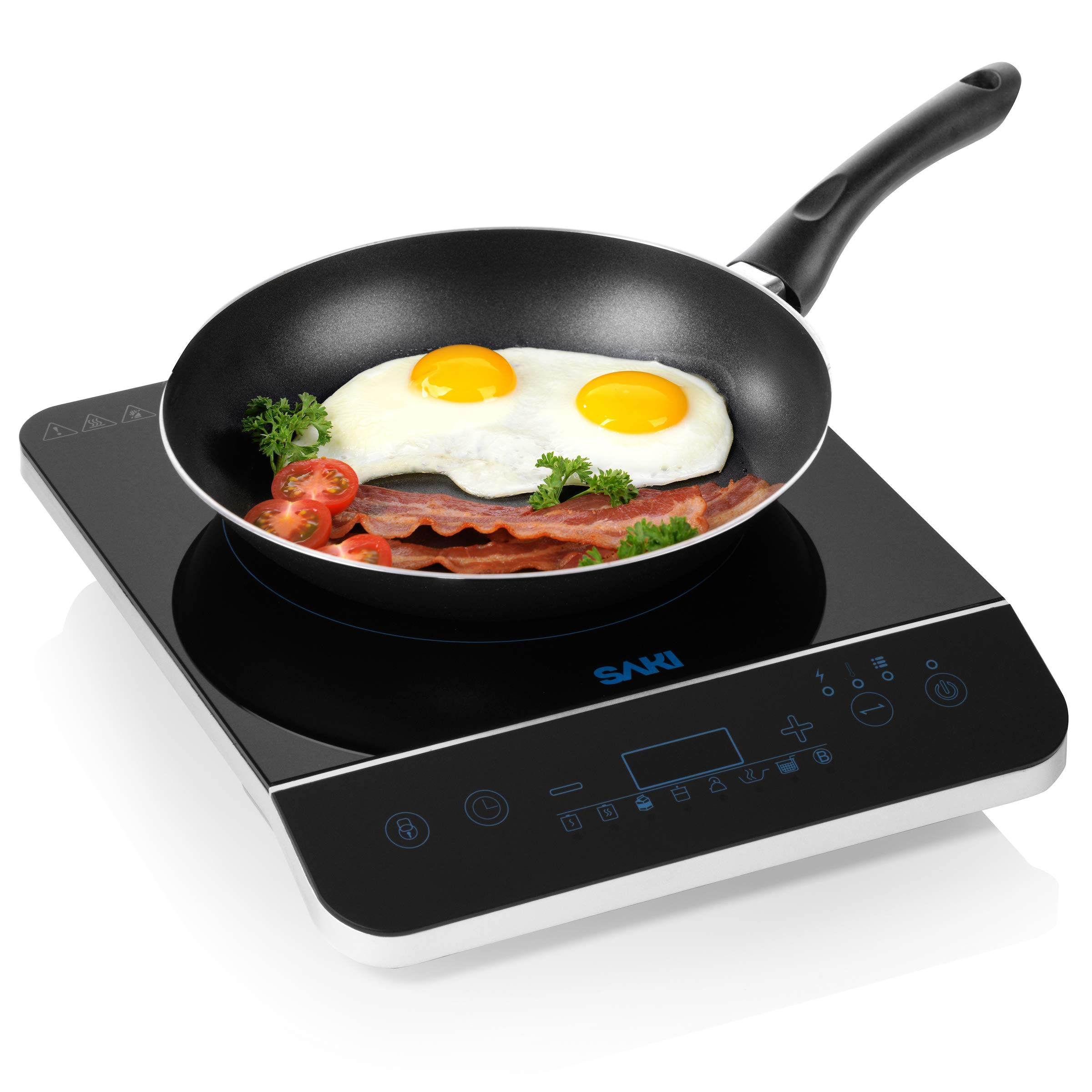 Saki Induction Cooktop - 1800W Portable Induction Cooker Countertop Burner Electric Stovetop, 8-level power control, Touch Sensor, Kids Safety Lock, Timer, for stainless steel Pot & Pan