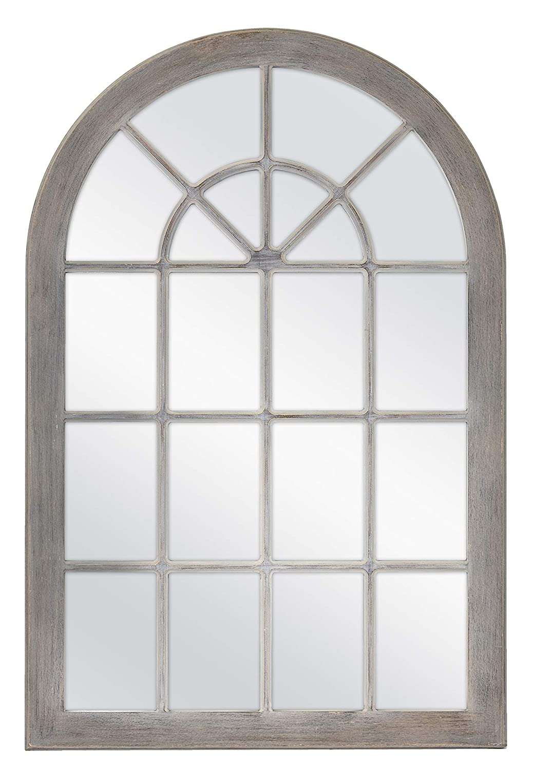 MCS Countryside Arched Windowpane Wall, Gray, 24×36 Inch Overall Size Mirror,