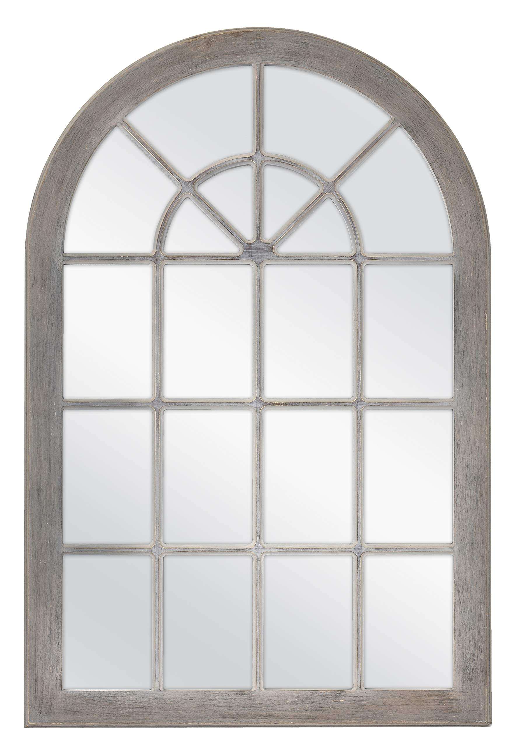 MCS Countryside Arched Windowpane Wall, Gray, 24x36 Inch Overall Size Mirror, by MCS