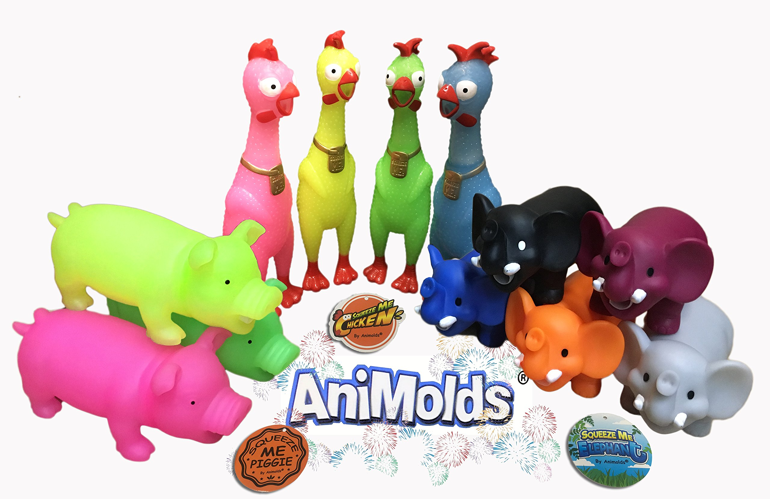 Animolds Animal Toy Pack ''12 Squeeze me Fun Toys'' Elephants Piggies The Despacito Singing Chicken Kids Adults Wholesale & Bulk by Animolds