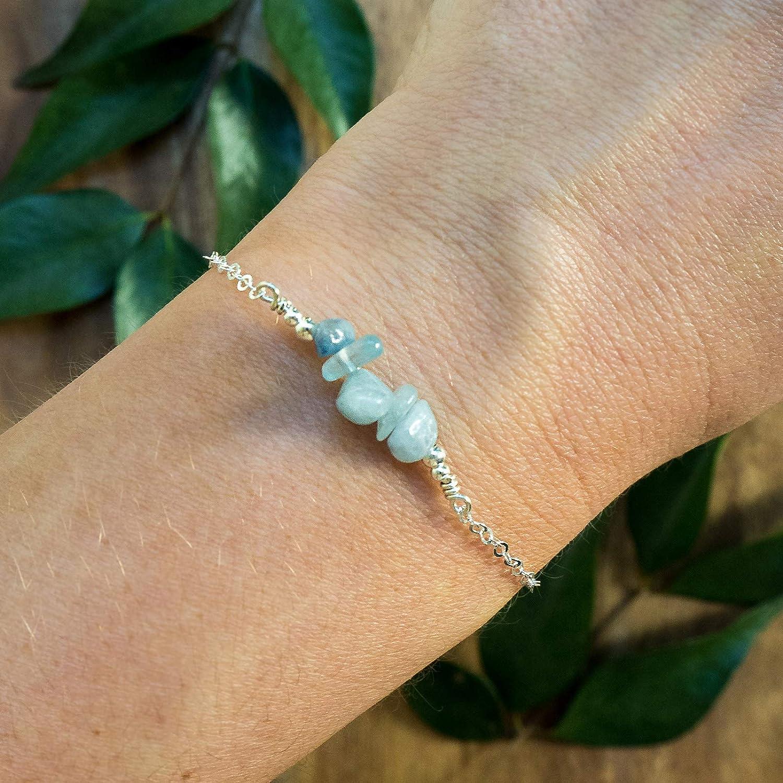 Adjustable 925 Sterling Silver March Aquamarine Birthstone Bracelet