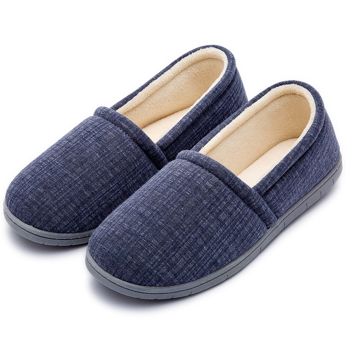 Cozy Niche Women's Knitted Vertical Stripe Shoes, Spring Summer Memory Foam House Slippers (9-10 B(M) US, Navy Blue)