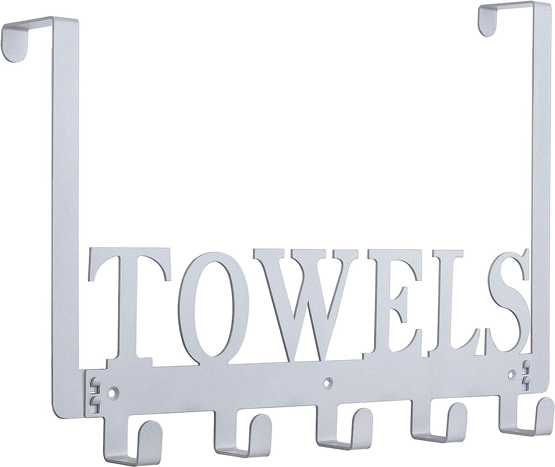 Over The Door Hooks, Towel Hooks for Bathroom, Towel Rack Towel Holder for Bedroom Kitchen Pool Beach Towels Bathrobe Wall Mount Hang on The Door Cabinet Cupboard (Silver Gray)