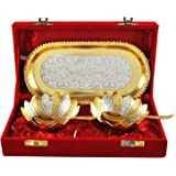 Gold And Silver Plated Bowl Tray Set