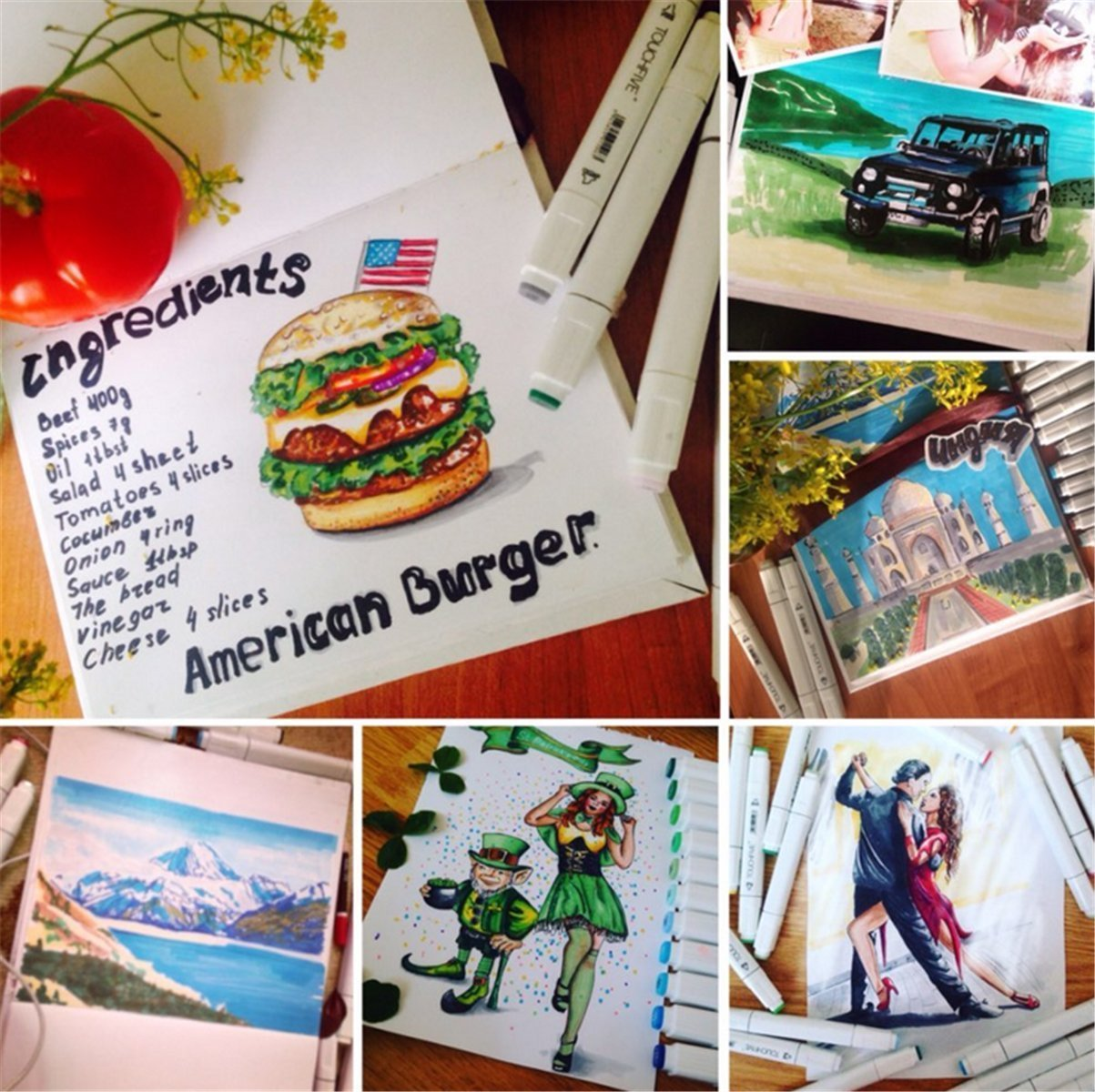 Marcador marcadores permanente bolígrafos, doble puntas animación diseño marcadores Marcador Art Sketch rotulador artista necesario con bolsa de transporte para colorear dibujo pintura y subrayado 168 Colours 53e9a6