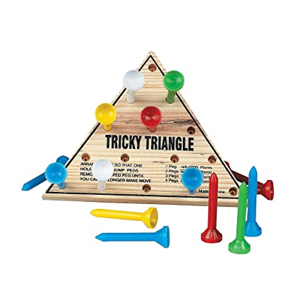 Amazon Com Fun Express Wooden Tricky Triangle Peg Game 1 Pack