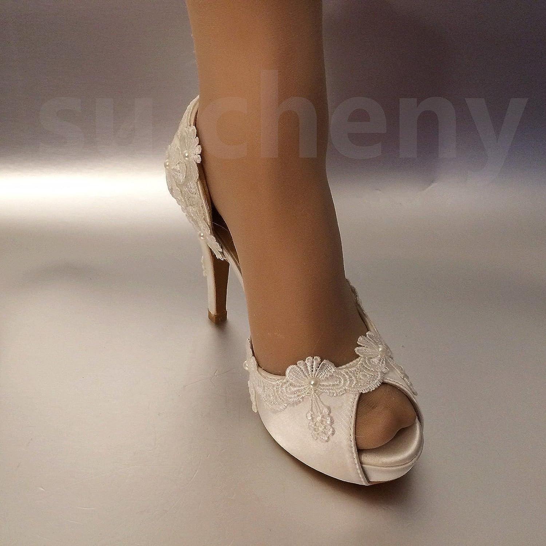 JINGXINSTORE 8 cm Perlen 3  Sehr Satin Weiß Spitze Perlen cm Zehe öffnen Hochzeit Schuhe Braut Größe 5-11 0d879e