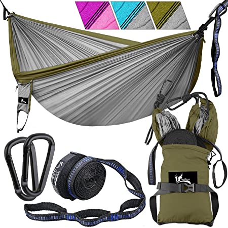 OUTDRSY Portable Camping Hammock with Tree Straps, Double Hammock 118 x 78 w 550lbs Capacity, Premium 210T Nylon Parachute Hammock Set Tear-Resistant But Soft
