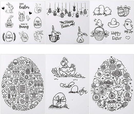 Kesote 6 Hojas Sellos de Silicona Transparente para Pascua DIY Manualidades Scrapbooking Álbumes de Recortes Tarjetas: Amazon.es: Hogar