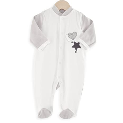 Kinousses pijama para bebé estrella & corazón blanco blanco blanco Talla:6 meses