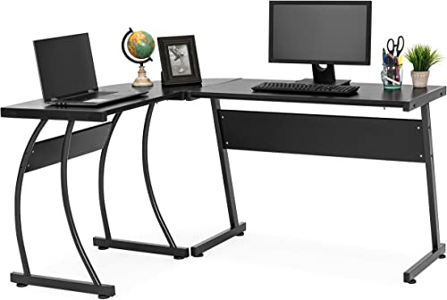 Best Choice Products 3-Piece Home Office L-Shaped Corner Computer Desk Workstation w Metal Frame, Foot Pads – Black