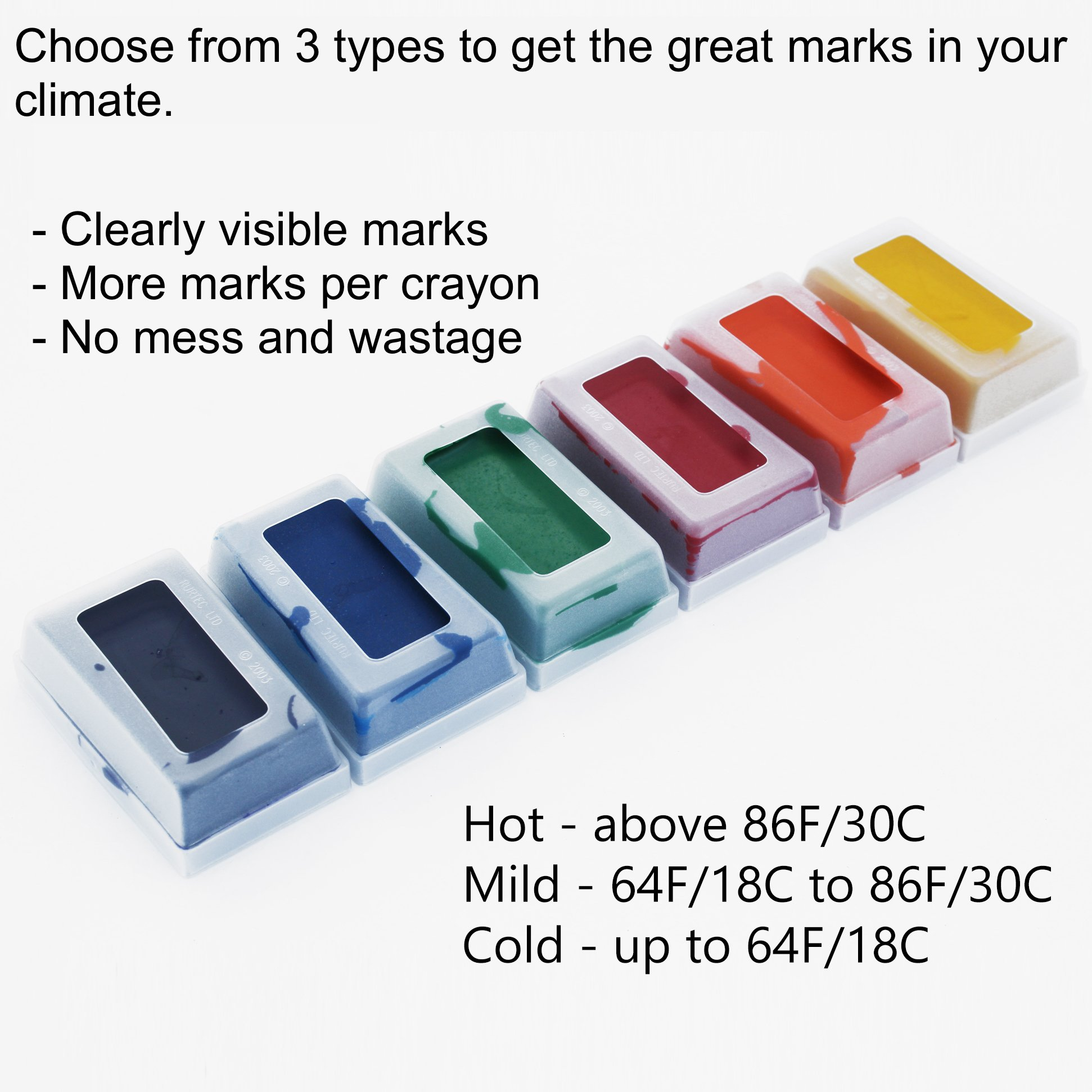 MATINGMARK Sheep & Goat Mating Crayon Block Marker for Ram Breeding/Marking Harness by Rurtec, 3 Pack (MILD Temperature) Made in New Zealand (Mild Yellow, Orange, Purple) by MATINGMARK (Image #1)