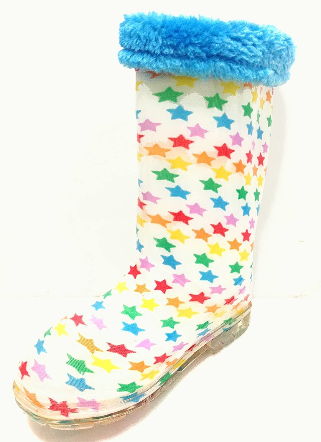 A.O.R. oar Little Boys & Girls White Rain Boots w/Stars and Lining