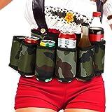 6-Pack Thickening Beer Belt Bottle Can Holder Oxford Cloth Drink Belt with Adjustable Waist Strap Big Zipper Pocket for Parti