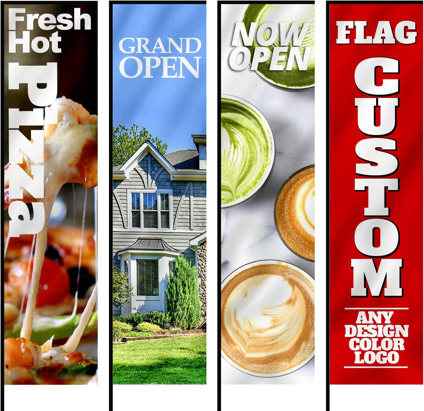 Anley Custom Rectangle Feather Flag 2 X 6 Ft Double Sided - Print Your Own Logo/Design/Words - Indoor & Outdoor Commercial Advertising Banners Flags (Flag ONLY)